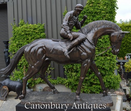 Giant Bronze Horse and Jockey Statue - 2.7 m / 9 Feet Tall Lifesize Horses