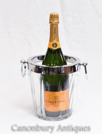 Glass Silver Champagne Bucket Cooler Ice