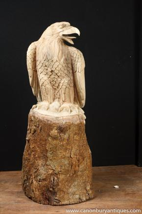 Hand Carved American Eagle Birds Prey Statue Wood