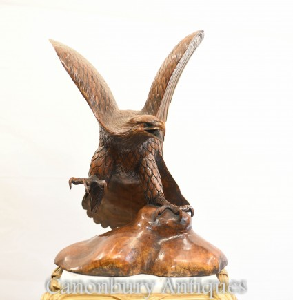 Hand Carved American Golden Eagle Statue Birds of Prey Art