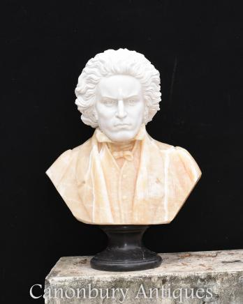 Hand Carved Italian Marble Bust Beethoven German Romantic Composer Statue