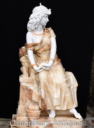 Hand Carved Italian Marble Maiden Statue - Female Figurine Roman