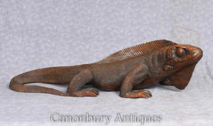 Hand Carved Komodo Dragon Sculpture - Lizard Reptile Art