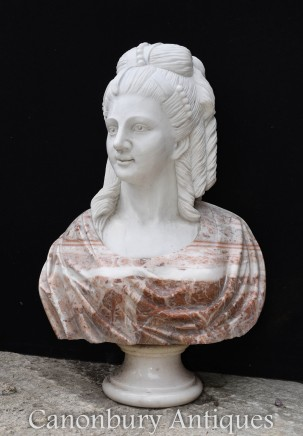 Hand Carved Marble Bust Victorian Lady Sculpture