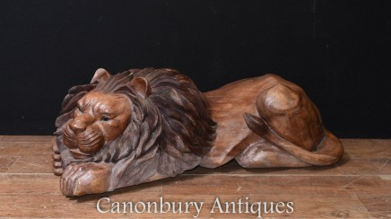 Hand Carved Recumbant Lion Statue - Cats Lions Sculpture