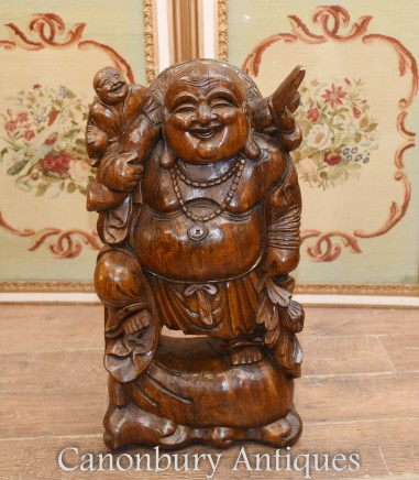 Happy Buddha Statue - Hand Carved Buddhist Art