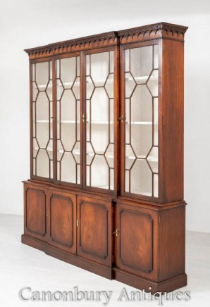 Hepplewhite Breakfront Bookcase - Antique Mahogany Bookcases