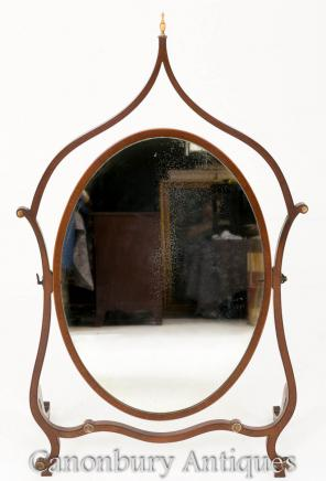 Hepplewhite Cheval Mirror Mahogany 1890