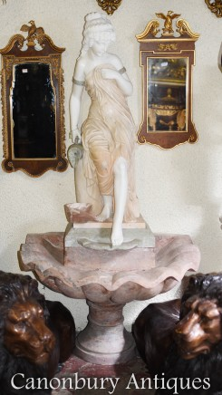 Italian Marble Fountain - Female Figurine Conch Font Water Feature