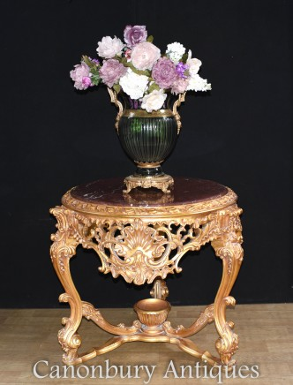 Italian Rococo Gilt Centre Table with Marble Top