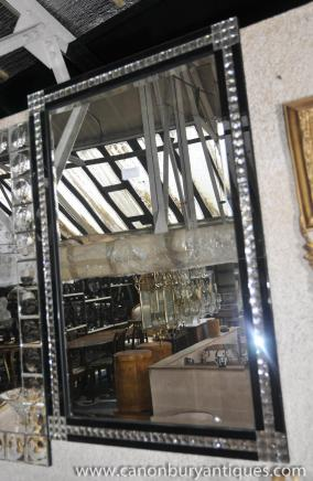 Large Art Deco Glass Pier Mirror Mirrors Mantle