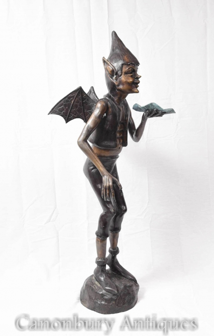 Large Bronze Celtic Pixie Statue Fairey Garden Casting
