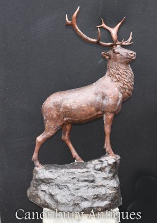 Large Bronze Scottish Stag Statue - Scot Highlands Deer