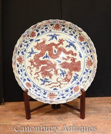 Large Chinese Porcelain Dragon Plate - Ming Pottery Plaque