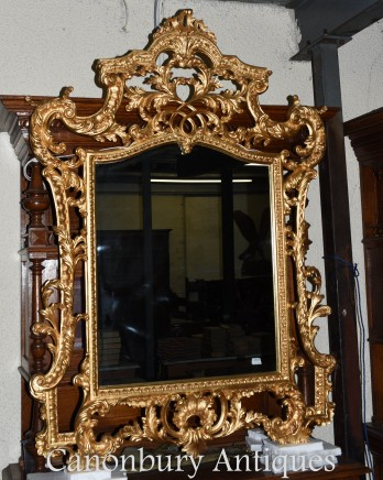 Large Chippendale Gilt Pier Mirror Rococo Glass