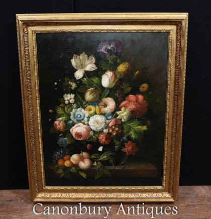 Large Floral Spray Oil Painting Victorian Art