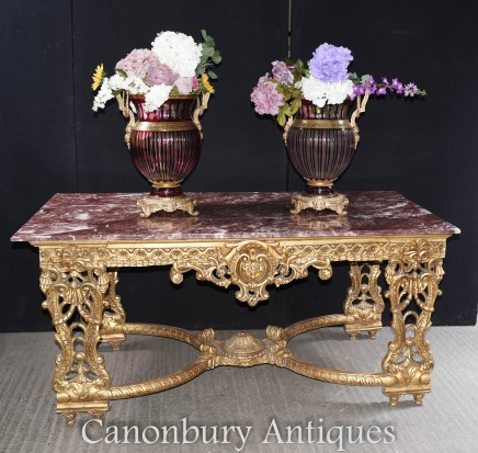 Large French Gilt Console Table - Louis XVI Rococo