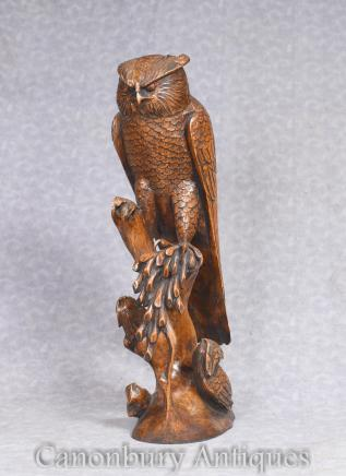 Large Hand Carved Black Forest Owl Statue Hawk Birds of Prey
