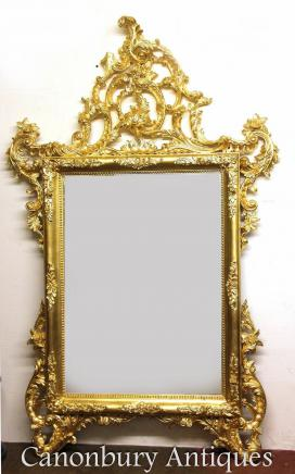 Large Italian Gilt Pier Mirror Hand Carved Glass Mirrors