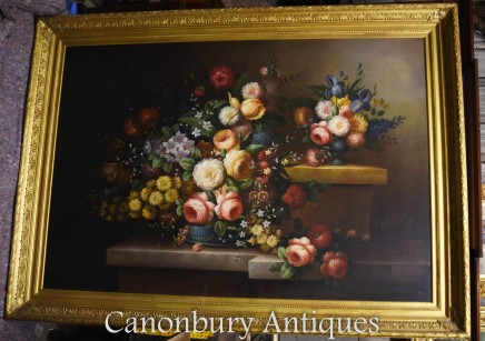 Large Oil Painting - Victorian Floral Still Life Gilt Frame