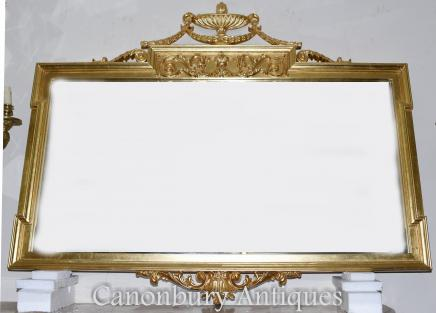 Large Regency Adams Mantle Mirror Gilt Glass
