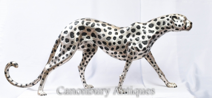 Art Deco Bronze Cheetah  Cat - Large Silver Plate Statue