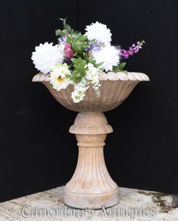 Large Tuscan Pink Marble Planter on Stand Garden Urn