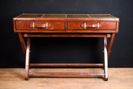 Leather Campaign Console Table Colonial Desk