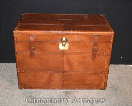 Leather Steamer Trunk Luggage Box - Side Table Hamper