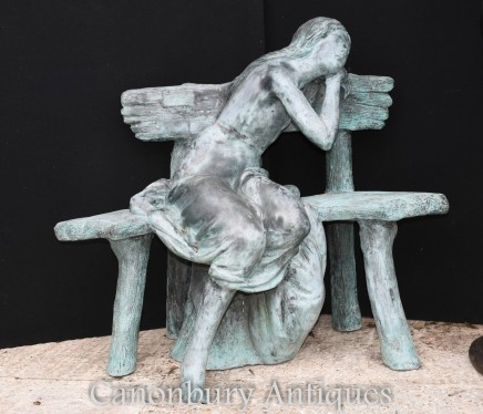Lifesize Bronze Bench Sleeping Maiden Classical Statue