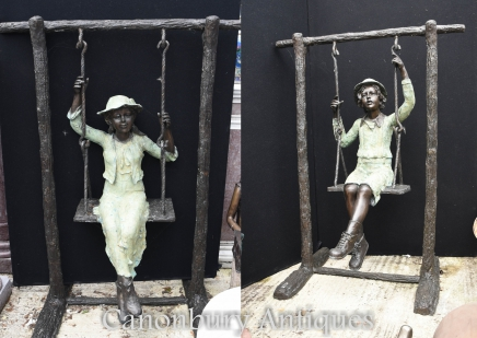 Lifesize Bronze Boy and Girl Swing Garden Statue Casting