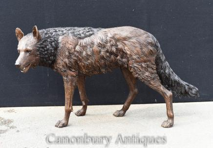 Lifesize Bronze Coyote Statue Dog Garden Casting