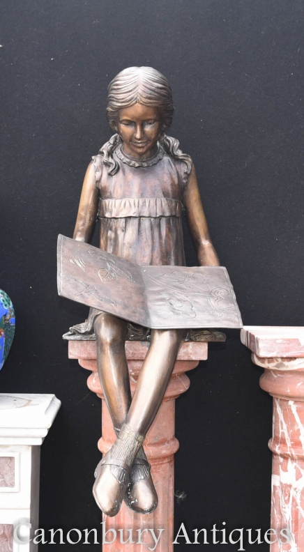 Lifesize Bronze Reading Girl Statue Garden Casting