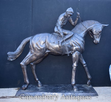 Lifesize French Bronze Horse and Jockey Statue by Bonheur