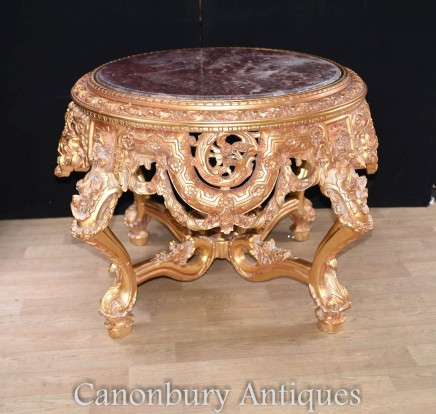 Louis XVI Gilt Centre Table - French Marble Topped Tables