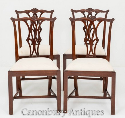 Mahogany Chippendale Dining Chairs - Set 4