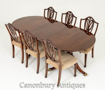 Mahogany Regency Dining Table Set Prince of Wales Chairs
