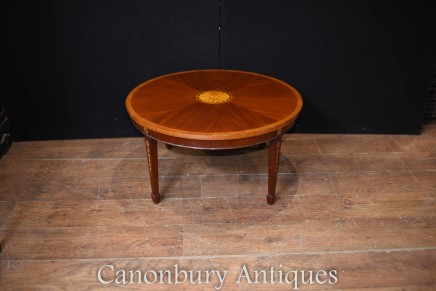 Mahogany Sheraton Coffee Table - Regency Inlay Side Tables