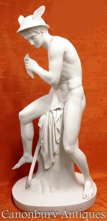 Mercury Statue - Hermes Pan Pipes Offering to Minerva Sculpture