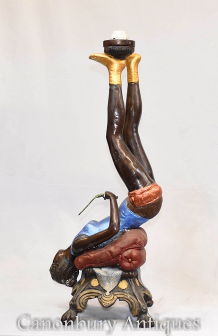Bronze Burlesque Lamp Statue Erotic Kitsch Art - New Orleans Figurine