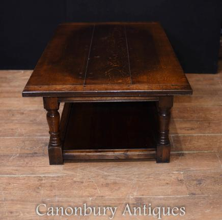 Oak Coffee Table - Farmhouse Refectory Tabl