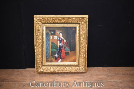 Oil Painting Female Portrait - Victorian Dressing Parlour Art