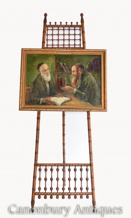 Oil Painting Jew and Rabbi Portrait Antique Yiddish Judaic Art 1930