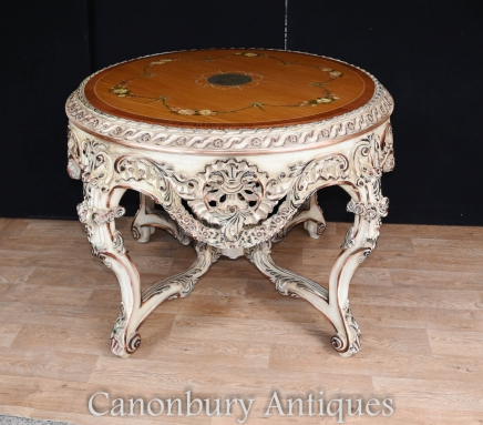 Painted Rococo English Centre Table Satinwood Top