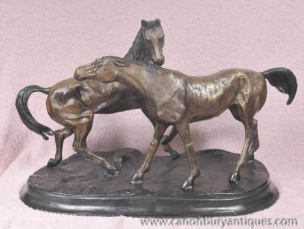 Pair Bronze Horses By PJ Mene Pony Horse Equestrian Statue