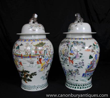 Pair Chinese Porcelain Ginger Urns - Qianlong  Vases Jars Qing Pottery