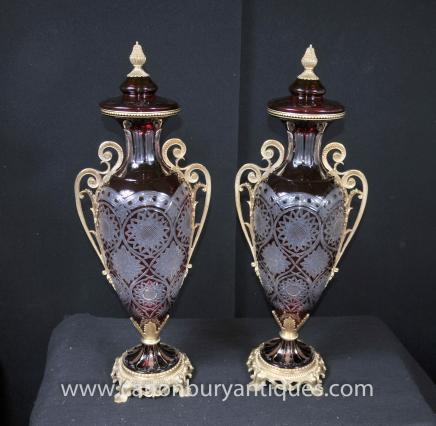 Pair French Empire Cut Glass Vases Amphora Lidded Urns