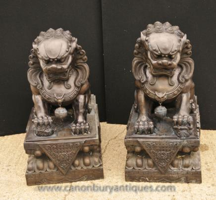 Pair XL Bronze Chinese Dogs - Foo Keiloon Fu Temple Statue China
