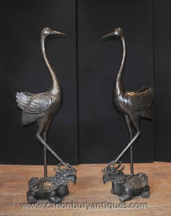 Pair XL Japanese Crane Statues Turtle Dragon Birds Tsuru Stork