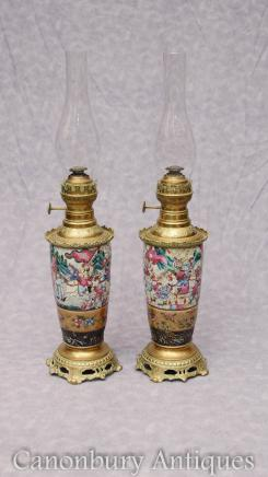 Pair Antique Chinese Cantonese Porcelain Oil Lamps Ormolu Mounts Canton Table Light